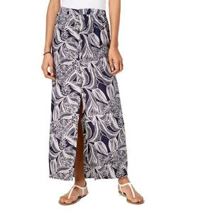 Roxy Maxi Floral Printed Button Slit Skirt Blue